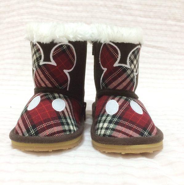【現貨零碼出清】迪士尼 米奇 童鞋 雪靴 靴子 紅格款