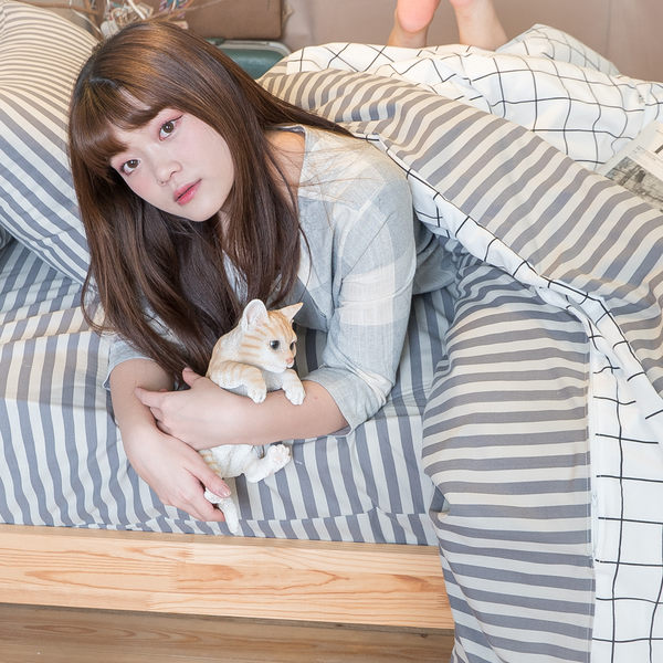 Cube&Line【床包灰線條】雙人薄被套6x7尺 舒適磨毛布 台灣製造