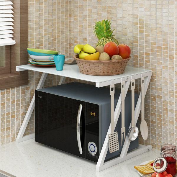 鋼化玻璃微波爐置物架2層廚房收納調味料烤箱架落地電飯煲架雙層WY 雙12八七折