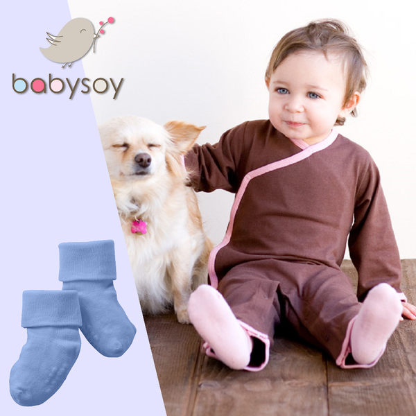 美國[Babysoy]嬰兒防滑素色短襪1入-天空藍(147)