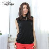 Victoria 優雅包肩燙鑽TEE-女-黑