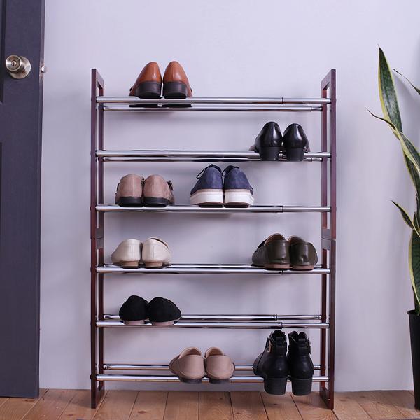 三層可堆疊伸縮式鞋架-深咖(53~97.5cm) 收納 鞋櫃 【立格扉ligfe】