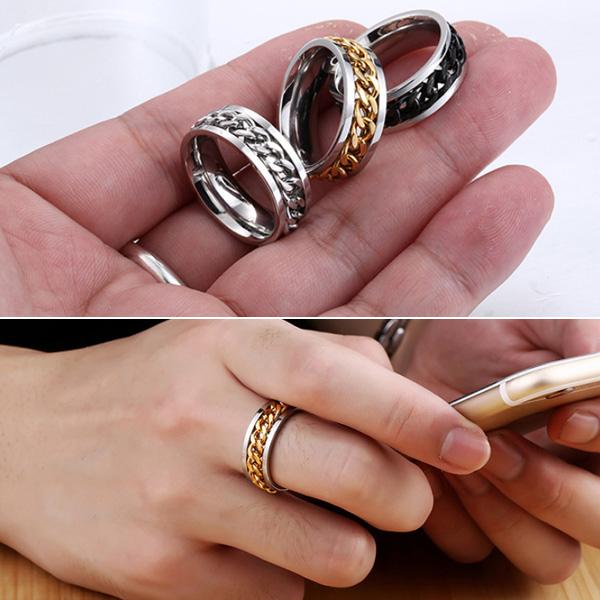 《 QBOX 》FASHION 飾品【R10BR-R054NEW】精緻個性鏈條環鎖扣鈦鋼戒指/戒環(三色)