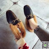 懶人鞋包頭懶人半拖鞋女外穿毛毛拖鞋秋冬新款韓版百搭金屬扣穆勒鞋 年終狂歡節