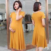 中大尺碼  孕婦洋裝2018新款短袖寬松夏 ys4433『毛菇小象』