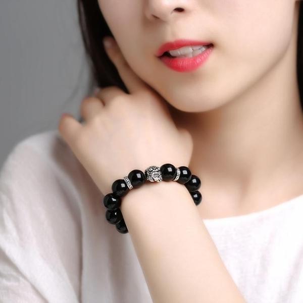 佛珠 黑曜石貔貅手鏈男款女情侶韓版銀首飾品個性佛珠轉運手串 萬寶屋