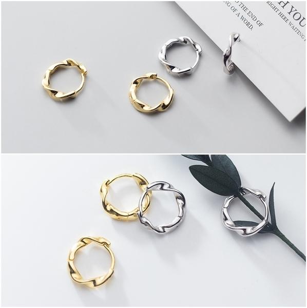 925純銀 麻花螺旋 莫比烏斯環 耳環耳圈扣-金、銀、玫瑰金 防抗過敏
