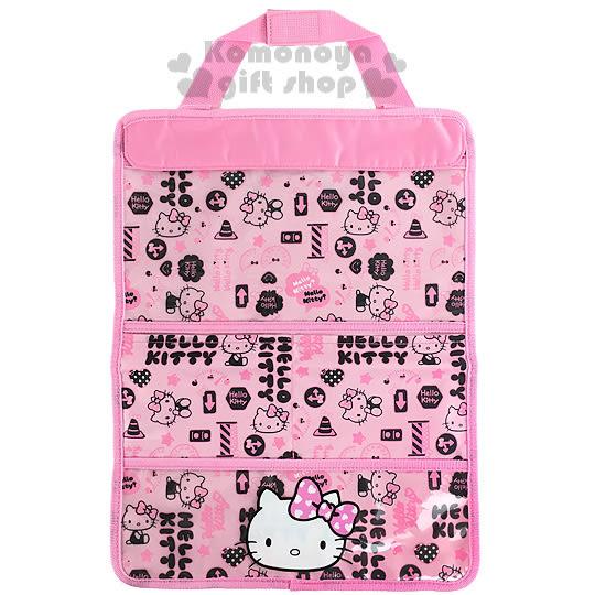 〔小禮堂〕Hello Kitty 汽車多用途置物袋《粉.大臉.交通號誌》一物多用省空間 4901610-62979