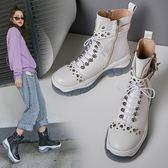 真皮女鞋 2019新款龐克風重金屬馬丁靴 頭層牛皮鉚釘扣帶環馬丁靴 騎士靴 軍靴中跟短靴 ~2色