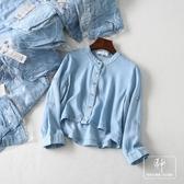 DEDW035法國單2019夏新款韓版時尚簡約圓領牛仔短款薄款襯衫上衣