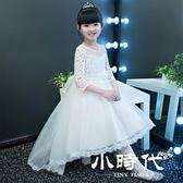 夏裝2018女童連身裙公主裙蓬蓬紗洋氣裙子兒童主持演出服拖尾