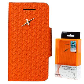 X-Shell  iPhone5/5S/SE 防電磁波真皮掀蓋套/全球獨創防電磁波設計x結合NFC讀取悠遊卡(摩新橘)