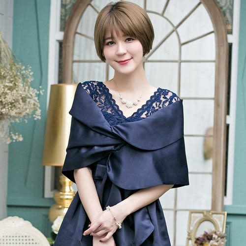 88013-S優雅婚紗緞禮服晚宴搭配小披肩~美之札