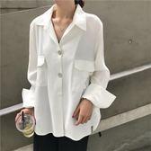襯衣上衣韓版新款女裝港味寬鬆顯瘦百搭口袋純色長袖秋裝襯衫