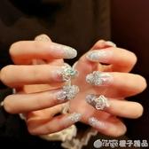 持久防水孕婦可用結婚指甲貼指甲貼片新娘美甲成品中長款假指甲貼  (橙子精品)