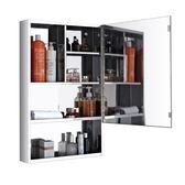 6浴室鏡櫃不銹鋼掛牆式鏡子帶置物架洗手間鏡箱化妝鏡櫃 『名購居家』igo