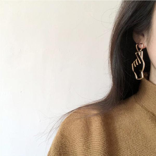 素簡手作《L037》韓國耳環不對稱垂墜耳環耳夾