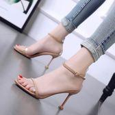 2018夏季新款韓版高跟涼鞋細跟性感露趾一字扣百搭透明貓跟女鞋 【PINK Q】