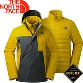 【The North Face 男款 550fp 兩件式羽絨外套灰《黃》】365BUPQ/羽絨外套/兩件式外套/防水外套★滿額送