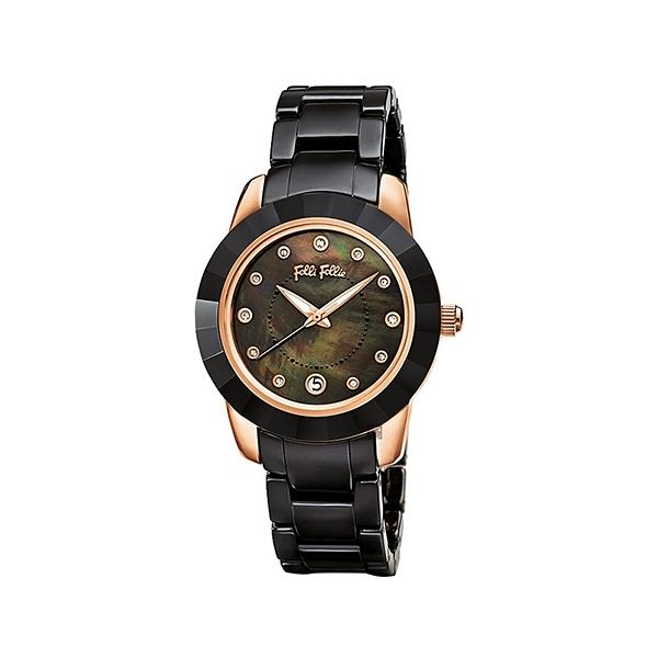 【Folli Follie】Prismatic海洋精靈時尚陶瓷腕錶-瓷石黑/WF13R052BTK_XX/台灣總代理公司貨享兩年保固