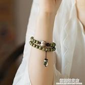 復古綠檀手串女森系學生手鏈情侶佛珠手串檀香手串天然中國風佛珠 極簡雜貨