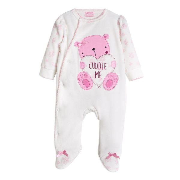 連身衣 Luvena Fortuna 絨面長袖包腳連身裝 - 白底粉紅愛心小熊 J10328