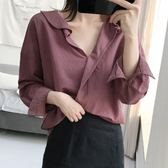正韓chic復古簡約荷葉邊寬鬆純色休閒百搭長袖襯衣女春季襯衫上衣