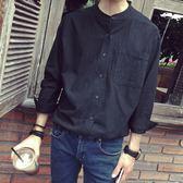 秋季立領亞麻襯衫男長袖正韓青年寬鬆大碼棉麻襯衣男潮薄款外套-BB奇趣屋