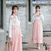 漢服古裝原創設計女民族風傳統漢服唐刺繡交領日常改良襦裙古風套 降價兩天