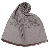 GUCCI 經典雙G紋羊毛混絲綢薄披肩圍巾(卡其灰)084081-11