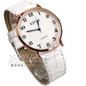 KEVIN 數字時刻簡約時尚腕錶 防水手錶 皮革錶帶 男錶/中性錶/女錶/都適合 玫瑰金 KV3068玫白大