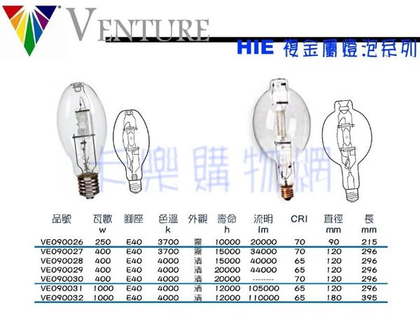 VENTURE 92008 HIE 400W/V/PS/4K  _ VE090029