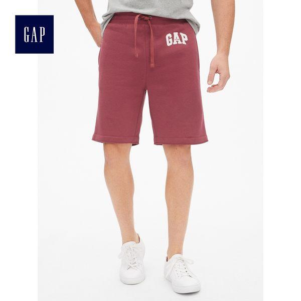 Gap男裝 Logo印花刷毛鬆緊腰短褲 471439-印度紅
