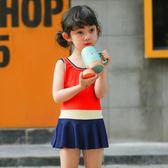 韓版兒童可愛連體裙式溫泉游泳衣甜美舒適女童時尚遮肚泳裝【無趣工社】