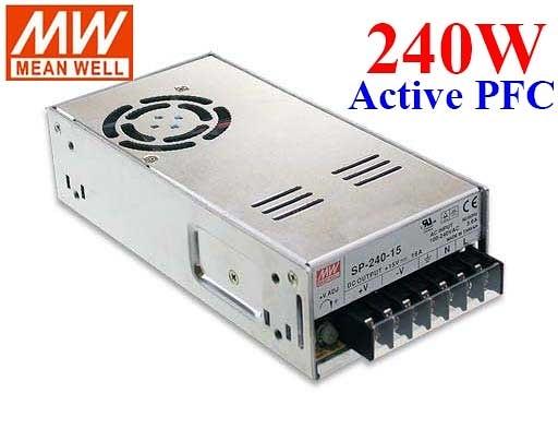 明緯MW 12V/20A/240W/PFC SP-240-12 機殼型(Enclosed Type)交換式電源供應器