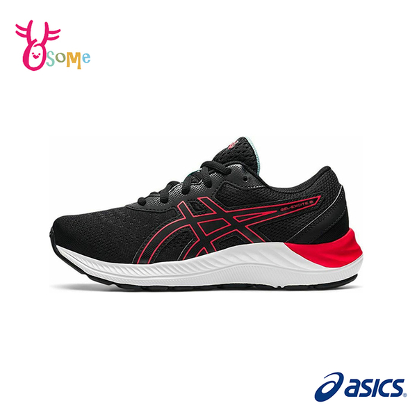 ASICS童鞋 男童慢跑鞋 GEL EXCITE 8 GS 跑步鞋 路跑運動鞋 亞瑟膠 亞瑟士 大童 C9195#黑紅◆奧森