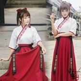 漢服古裝原創改良漢服女中國風古男武俠復古學生情侶CP日常連身裙套 618降價