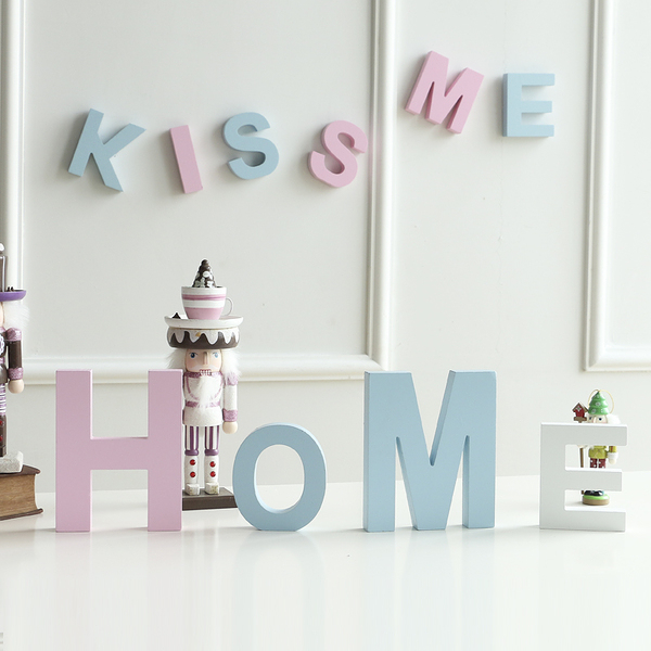 diy木質英文字母家居創意擺件婚慶裝飾擺設壁飾拍攝道具大號粉色─預購CH2003