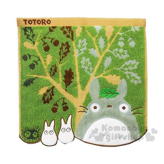 〔小禮堂〕宮崎駿 Totoro龍貓  小方巾《綠.樹葉.朋友.大樹.造型下擺》24x24cm 4992272-55888