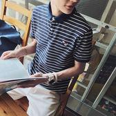 韓版夏潮男條紋短袖翻領T恤韓版修身Polo衫