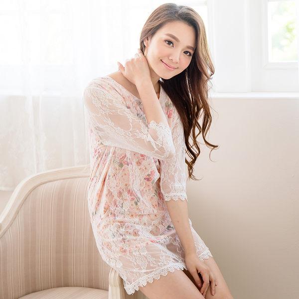 漾彩繽紛蕾絲洋裝(粉橘)