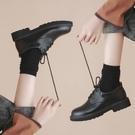 皮鞋女 平底繫帶小皮鞋女英倫風復古學院黑色布洛克單鞋女粗跟工作鞋【88折免運】
