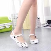 新款洞洞鞋女平底沙灘女涼鞋低幫塑料夏季白色縷空護士鞋