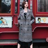 韓國復古雙排扣千鳥格格紋帥氣中長款毛呢夾棉開衫外套大衣(現貨)26145快時尚