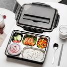 日式大容量上班族 飯盒 便當盒 學生分格不鏽鋼餐盒套裝分隔型餐盤男 年底清倉8折