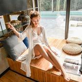 春季夏天性感吊帶睡裙冰絲長款睡袍女兩件套絲綢蕾絲長袖胸墊睡衣 小巨蛋之家