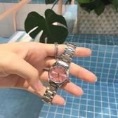 粉色錶盤鋼制錶帶簡約女錶潮學生小清新休閒