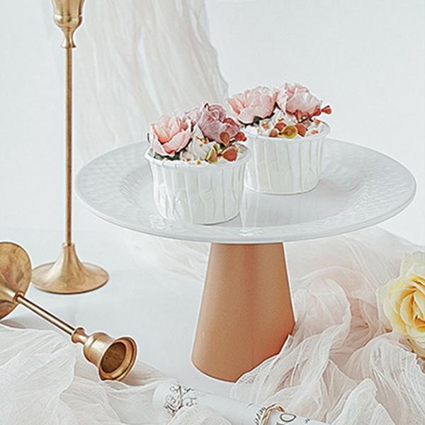 【BlueCat】小號 仿陶瓷 密胺盤甜品高腳托台 (直徑22.5cm) 托盤 蛋糕盤 拍照道具 美食擺拍 拍攝道具