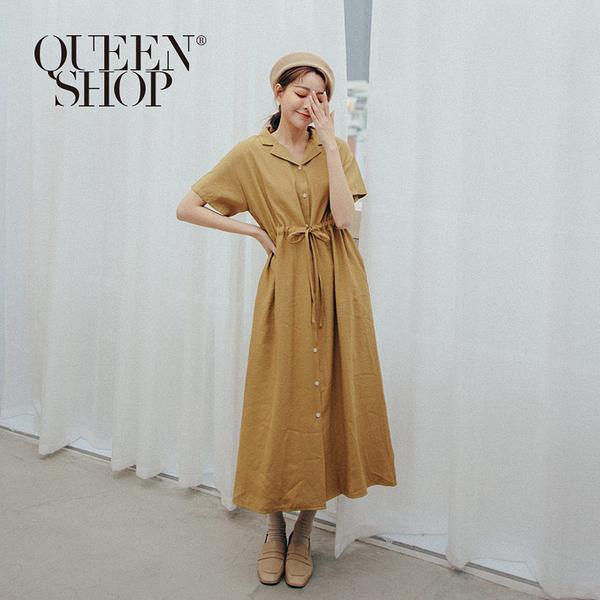 Queen Shop【01084829】基本百搭休閒感腰抽繩造型洋裝 兩色售*現+預*