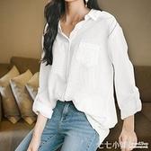 棉麻白色襯衫女春裝2019新款長袖韓版很仙的襯衣上衣洋氣設計感